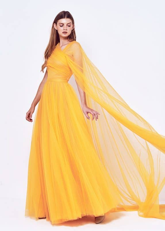 One side Shoulder Tulle Evening Dress with Cape