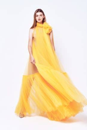 Long Yellow Tulle Evening Dress with lining