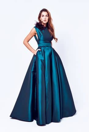 Evening long Dress with brooch