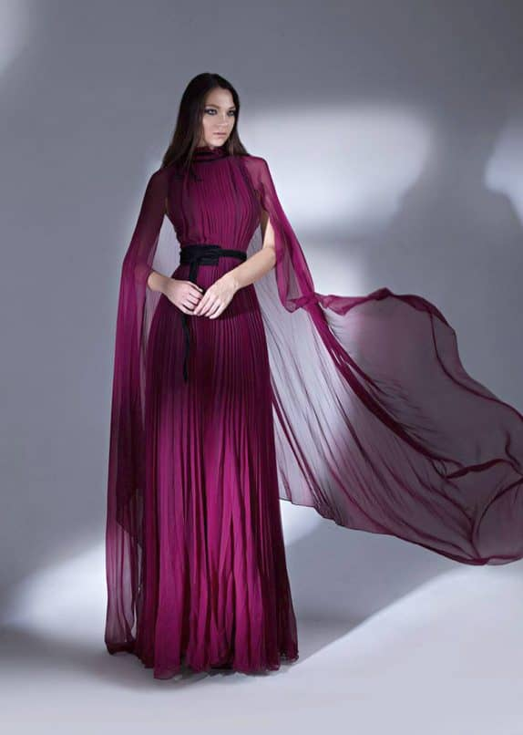 Pleated Chiffon Evening Dress with Cape